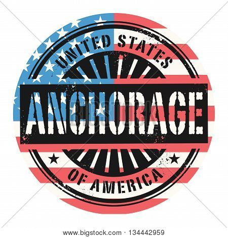 Grunge rubber stamp with the text United States of America, Anchorage, vector illustration