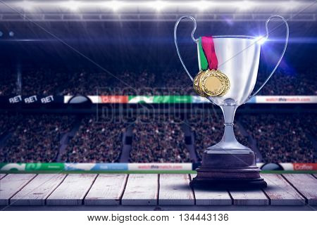 Focus on a trophy against white background with vignette