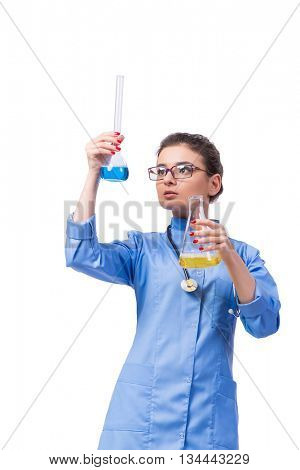 Woman doctor doing chemical tests isolated on white