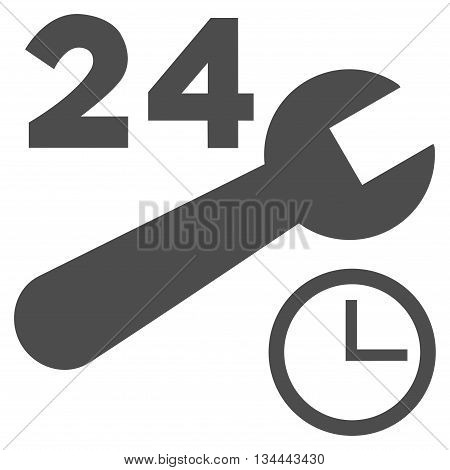 Nonstop Service Hours vector icon. Style is flat icon symbol, gray color, white background.