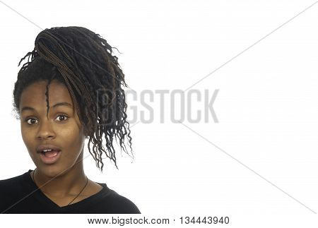 portrait of a young girl on white background