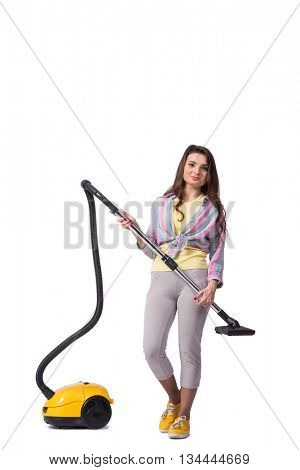 Woman with vacuum cleaner isolated on white