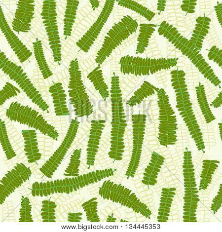 Vector Fern Leaves Seamless Pattern Background with hand drawn textured fern plants.