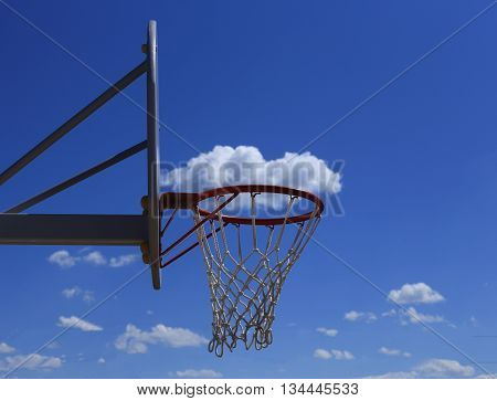 Basketball basket on blue sky background. cloud in the basket. durable mesh.