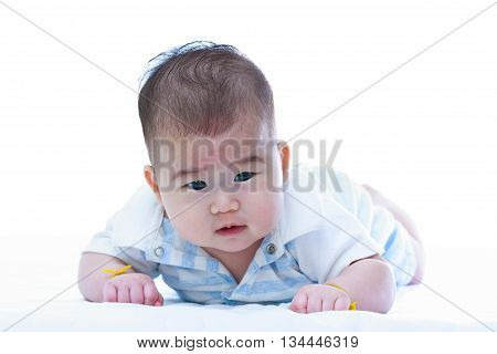 Portrait of cute asian baby. Adorable crawling baby girl isolated on white background. Studio shot.