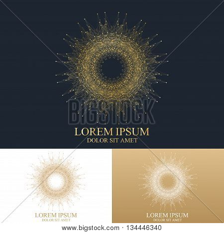 Geometric abstract round form with connected line and dots. Graphic composition for medicine, science, technology , chemistry. Vector SignTemplate. Luxury golden solutions design.