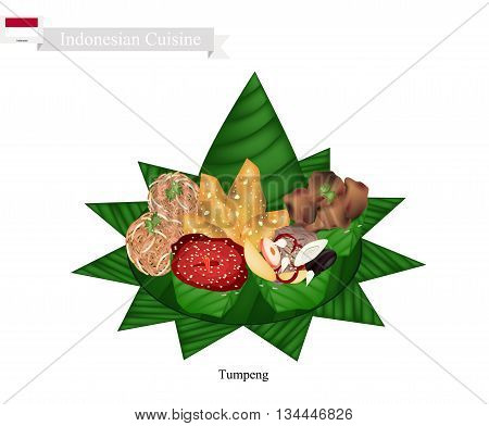 Indonesian Cuisine Tumpeng or Traditional Cone Shaped Curry Rice with Barbecue Meat Fish Balls and Crispy Noodles One of The Most Popular Food of Indonesian.