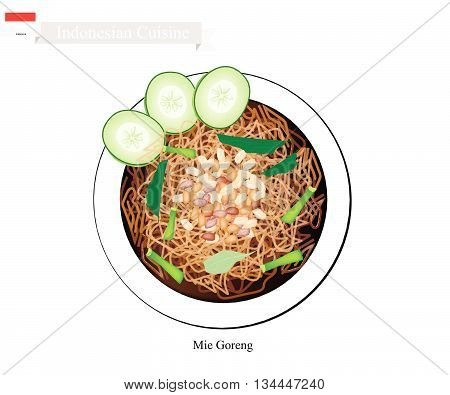Indonesian Cuisine Mie Goreng or Traditional Stir Fried Noodles. One of The Most Popular Dish in Indonesia..