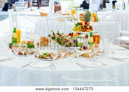 Restaurant Catering Services. Banquet Table Set