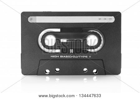 vintage music cassette with blank label on white