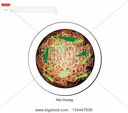 Indonesian Cuisine Mie Goreng or Traditional Fried Noodles. One of The Most Famous Dish in Indonesia.