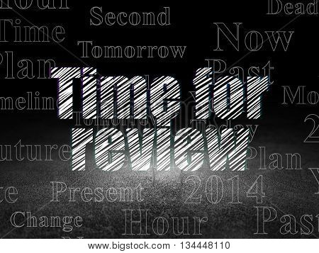 Time concept: Glowing text Time for Review in grunge dark room with Dirty Floor, black background with  Tag Cloud