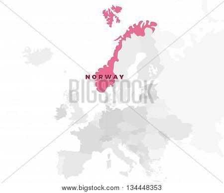 Norway location modern detailed map. All european countries without names. Vector template of beautiful flat grayscale map design with selected country name text and border location