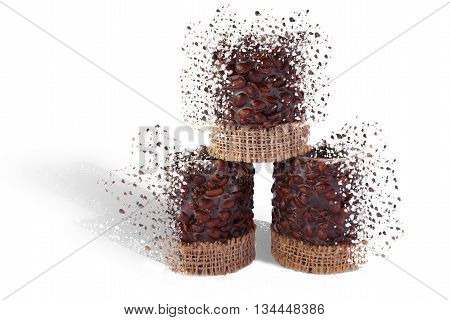 Coffee candles on a white background and the effect of decay