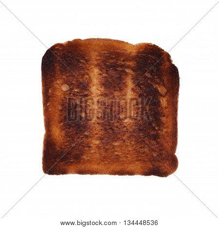 burned slice of toast isolated on white
