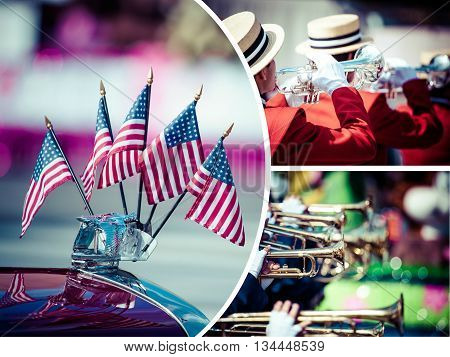 Collage of American parade in Chicago city