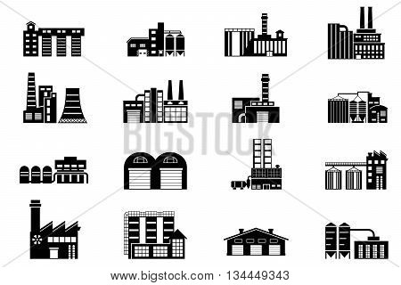 Industrial and manufacturing factory building. Monochrome vector icons