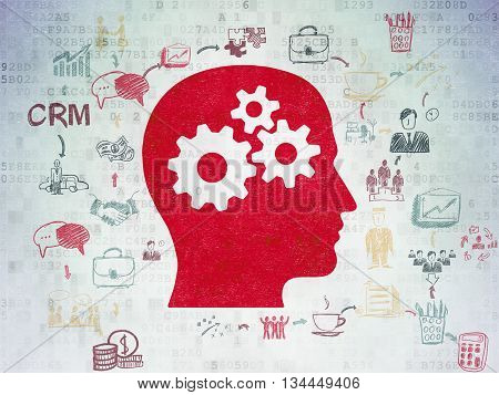 Business concept: Painted red Head With Gears icon on Digital Data Paper background with Scheme Of Hand Drawn Business Icons