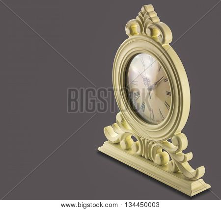 vintage table clock on a white background