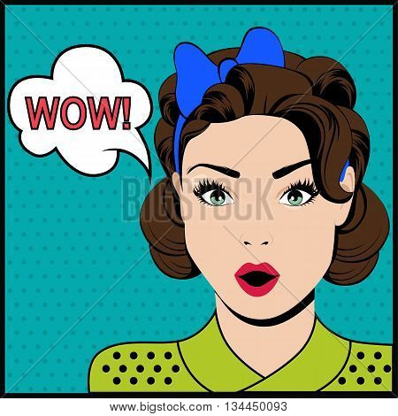 WOW pop art surprised woman with speech bubble. Vector illustration
