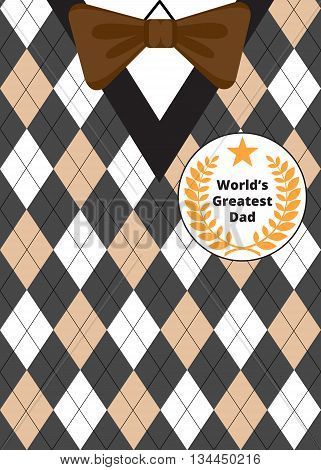 Greeting card for Fathers Day on argyle background with bow-tie and label Best Dad