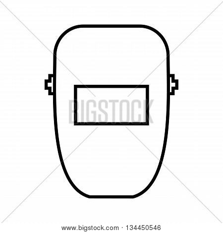 Welding mask icon in outline style isolated on white background