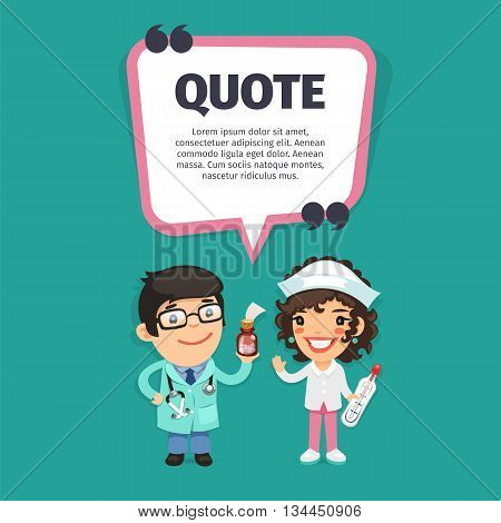Quote speech banner with flat cartoon Doctors. Clipping paths included.