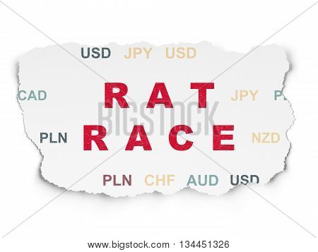 Finance concept: Painted red text Rat Race on Torn Paper background with  Currency