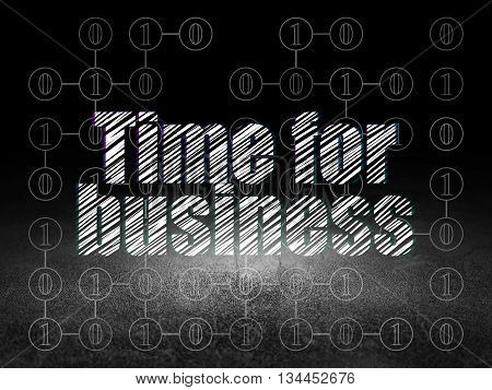 Finance concept: Glowing text Time for Business in grunge dark room with Dirty Floor, black background with Scheme Of Binary Code