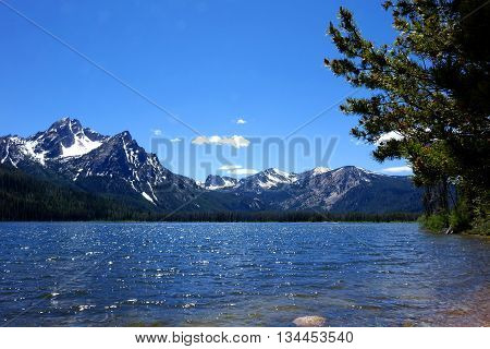 Stanley Lake and Mt. McGowan in Idaho's beautiful and jagged, Sawtooth Mountains.