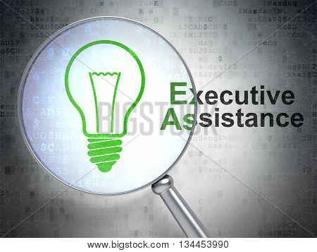 Finance concept: magnifying optical glass with Light Bulb icon and Executive Assistance word on digital background, 3D rendering