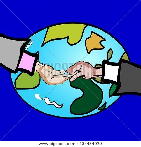 vector illustration of a hand drawn hand shakes fight beg - on the front of the Earth