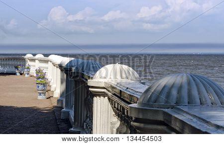 Stone balcony / terrace on the sea. Antique terrace.