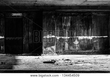 door to hell in abandoned building creepy darkness halloween background