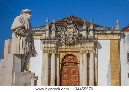 Statue Of King Joao Iii On The University Square Of Coimbra