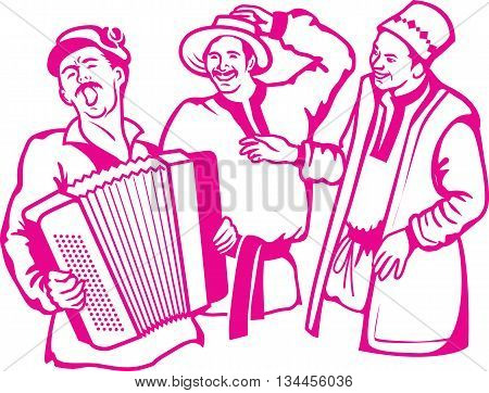 Vector illustration of retro scene three friends have a rest have fun play the accordion and sing songs.