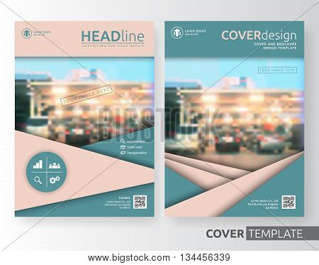 Abstract business and corporate cover design layout. Suitable for flyer brochure book cover leaflet and annual report. Old rose and canton green colour A4 size template background with bleed.