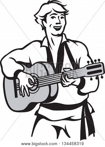 Vector illustration of russian guitar player isolated on white background.