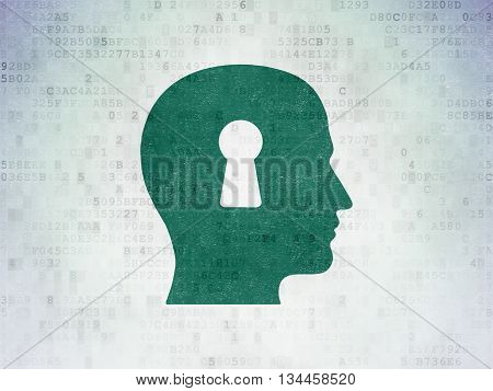 Business concept: Painted green Head With Keyhole icon on Digital Data Paper background