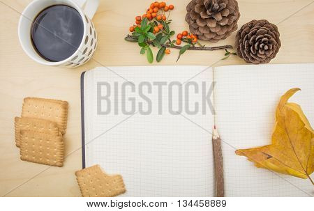 An Open Blank Notebook With Autumn Decoration And Hot Cup Of Coffee