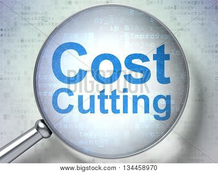 Finance concept: magnifying optical glass with words Cost Cutting on digital background, 3D rendering