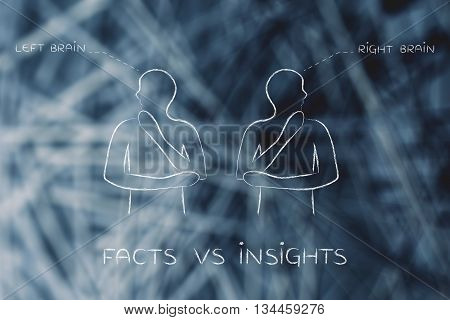 Men With Left And Right Brain Captions, Facts Vs Insights
