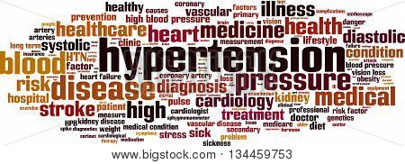 Hypertension word cloud concept. Vector illustration on white