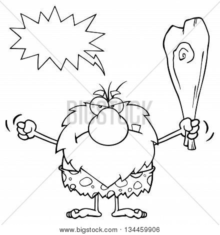 Black And White Grumpy Male Caveman Cartoon Mascot Character Holding Up A Fist And A Club. Illustration With Angry Speech Bubble
