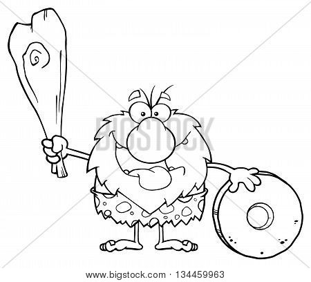 Happy Male Caveman Cartoon Mascot Character Holding A Club And Showing Wheel