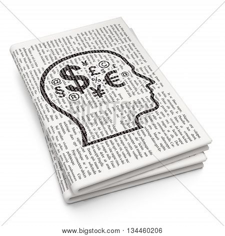Finance concept: Pixelated black Head With Finance Symbol icon on Newspaper background, 3D rendering