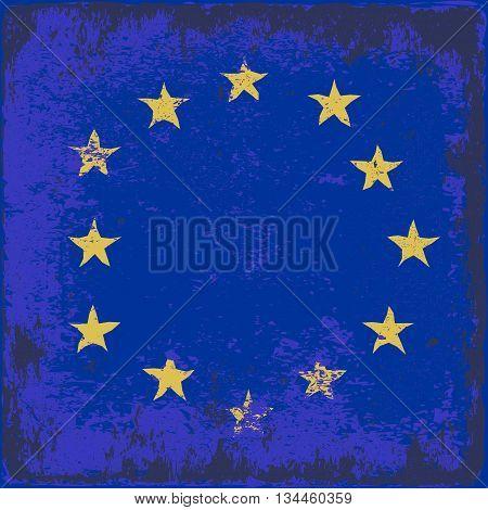 grunge flag of European Union - vector illustration