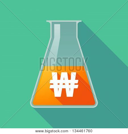 Long Shadow Chemical Test Tube With A Won Currency Sign