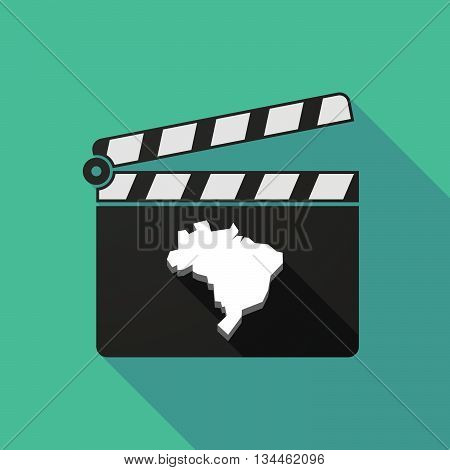 Long Shadow Clapperboard With  A Map Of Brazil