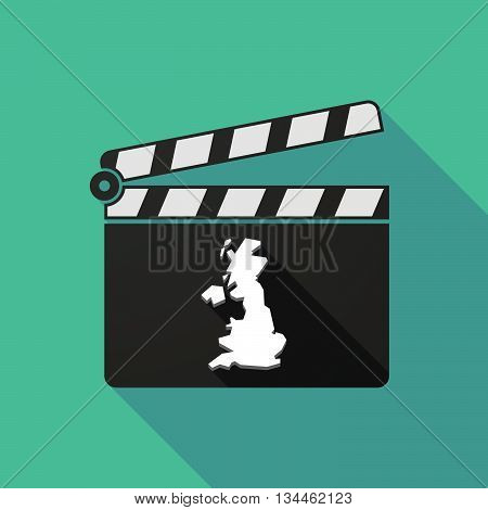 Long Shadow Clapperboard With  A Map Of The Uk